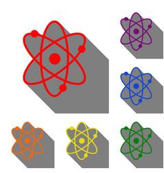 atom sign set of red orange yellow vector image vector image