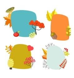 Autumn card templates with foliage decorative vector image vector image