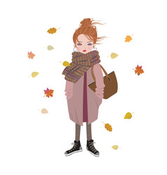 autumn fashion cartoon girl listening to music vector image