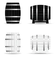 Barrel wooden set icon vector