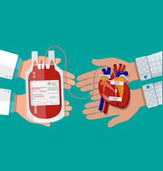 Blood bag and hand of donor with heart vector