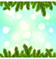 Blue bokeh light effect with fir tree branches vector