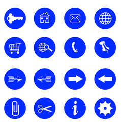 blue flat buttons with internet icons vector image