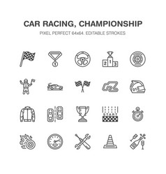 car racing flat line icons speed auto vector image