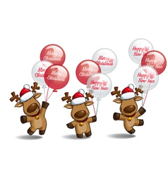 Christmas Elks Balloons vector image
