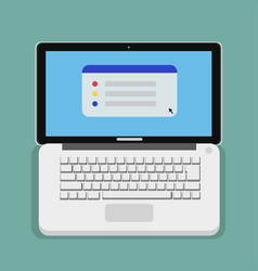 flat computer laptop design with keyboard vector image vector image