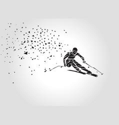 geometric triangle ski racer silhouette vector image vector image