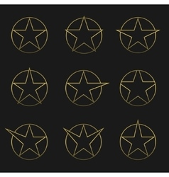 Golden Star set vector image vector image