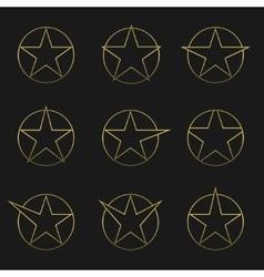 Golden star set vector