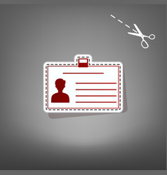 Identification card sign red icon with vector