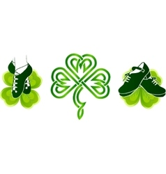 Irish dancing shoes on green clovers vector