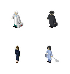 Isometric person set of detective housemaid vector