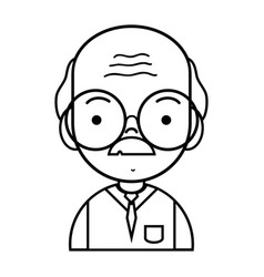 Line old man teacher with glasses and uniform vector
