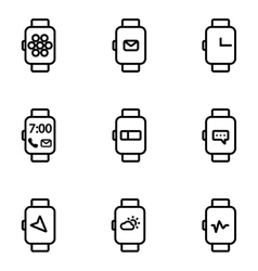 Line smart watch icon vector