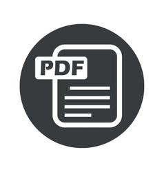 Monochrome round pdf file icon vector