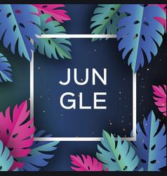 monstera trendy jungle banner paper cut tropical vector image