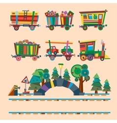 Railway train station vector