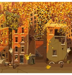 Ruined city in the autumn leaf fall vector