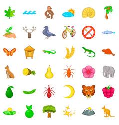 Sanctuary park icons set cartoon style vector