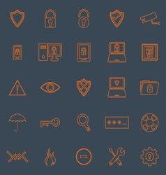 Security line color icons on grey background vector