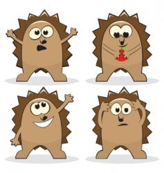 set of four cartoon hedgehogs vector image