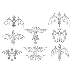 Set of hand drawn cartoon dragons in top down view vector