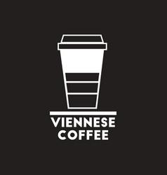 White icon on black background viennese vector