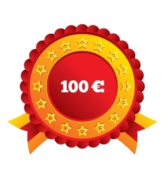 100 Euro sign icon EUR currency symbol vector image vector image