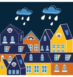 Cute of rainy city vector