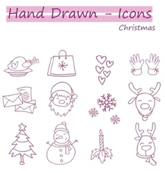 Hand draw set of christmas icon vector
