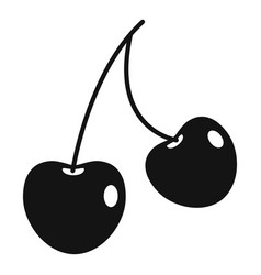 Two cherry berries icon simple style vector
