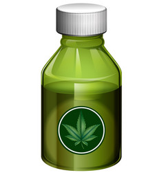 Liquid medicine in green bottle vector