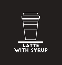 White icon on black background latte with vector