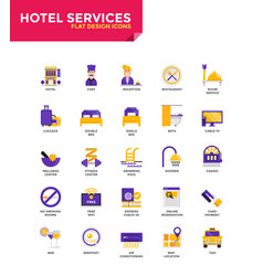 Modern material flat design icons - hotel services vector