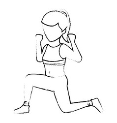 Athletic woman exercising character vector