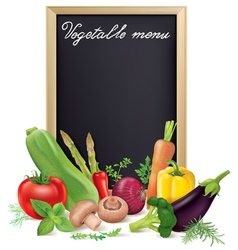 Vegetable menu board and vegetables vector