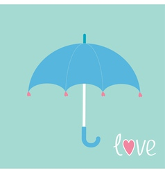 Blue umbrella with hearts love card vector