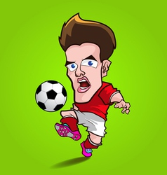 Red shirt play football cartoon vector