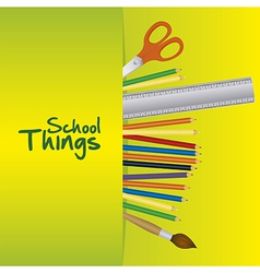 School things useful school over green background vector