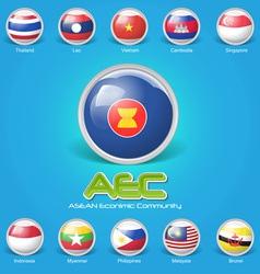 3d flag of asean economic community vector