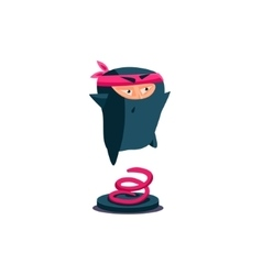 Cute Emotional Ninja Jumping Up vector image