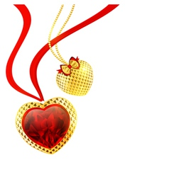 Valentines day golden hearts vector