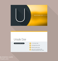 Creative business card template letter u flat vector