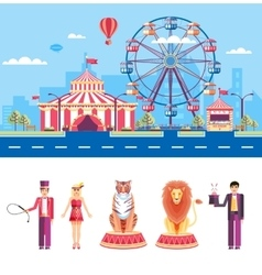 Circus with animal trainers and magician vector