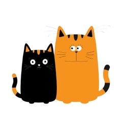 Cute red orange cartoon cat boy and black kitty vector