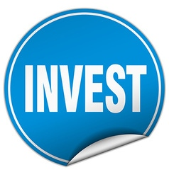 Invest round blue sticker isolated on white vector