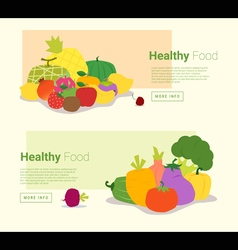 Healthy food banner with fruits and vegetables vector
