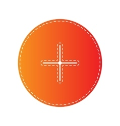 Positive symbol plus sign orange applique vector