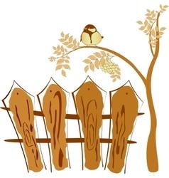 Autumn drawing bird sitting on a tree Rowan vector image vector image