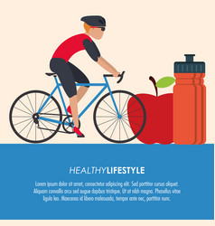 Bike racing male cartoon healthy lifestyle icon vector